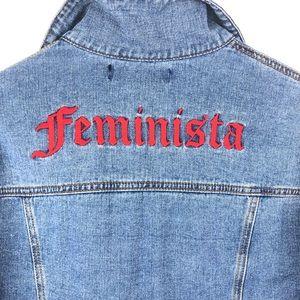 FOREVER 21 Cropped Denim Feminista Jacket
